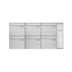 Basic | 6er Edelstahl Aufputz Briefkasten Design BASIC Plus 592C AP mit Klingelkasten - INDIVIDUELL Rechts | Mailboxes | Briefkasten Manufaktur
