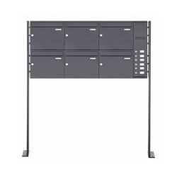 Basic | 6er Edelstahl Standbriefkasten BASIC Plus 592C ST-P pulverbeschichtet - Klingelkasten - INDIVIDUELL Rechts | Mailboxes | Briefkasten Manufaktur