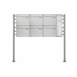 Basic | 6er Edelstahl Standbriefkasten BASIC Plus 593 ST-R - Klingelkasten - INDIVIDUELL Rechts | Briefkästen | Briefkasten Manufaktur