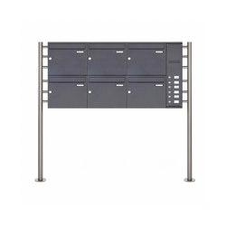 Basic | 6er Edelstahl Standbriefkasten BASIC Plus 593 ST-R pulverbeschichtet - Klingelkasten - INDIVIDUELL Rechts | Mailboxes | Briefkasten Manufaktur