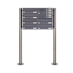 Basic | 6er Edelstahl Standbriefkasten Design BASIC Plus 385 X ST-R mit Klingelkasten - RAL nach Wahl Rechts | Mailboxes | Briefkasten Manufaktur