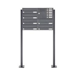 Basic | 6er Edelstahl Standbriefkasten Design BASIC Plus 385 XP SP mit Klingelkasten - RAL nach Wahl Rechts | Mailboxes | Briefkasten Manufaktur