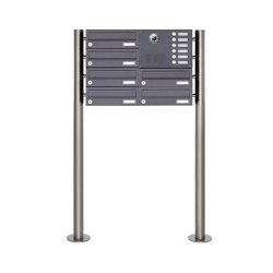 Basic | 6er Edelstahl Standbriefkasten Design BASIC Plus 385KX ST-R mit Klingel & Sprech- Kameravorbereitung Rechts | Mailboxes | Briefkasten Manufaktur
