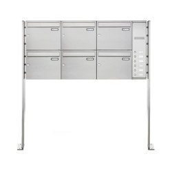 Basic | 6er Edelstahl Standbriefkasten Design BASIC Plus 592C ST-P - Klingelkasten - INDIVIDUELL Rechts | Mailboxes | Briefkasten Manufaktur
