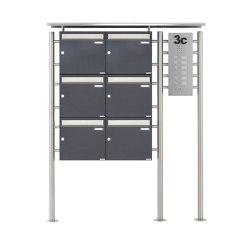 Basic | 6er Standbriefkasten BASIC 311X ST-R mit Klingelkasten - Edelstahleinwurf - RAL nach Wahl Rechts 100mm Tiefe | Mailboxes | Briefkasten Manufaktur
