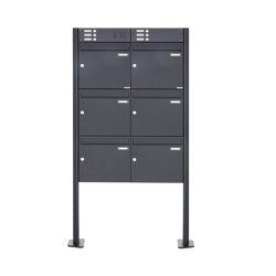 Basic | 6er Standbriefkasten Design BASIC 380 ST-T mit Klingelkasten - RAL 7016 anthrazitgrau 100mm Tiefe | Mailboxes | Briefkasten Manufaktur