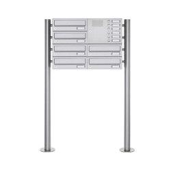 Basic | 6er Standbriefkasten Design BASIC 385 ST-R mit Klingelkasten - Edelstahl V2A, geschliffen Rechts | Mailboxes | Briefkasten Manufaktur