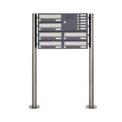 Basic | 6er Standbriefkasten Design BASIC 385 ST-R mit Klingelkasten - Edelstahl-RAL 7016 anthrazitgrau Rechts | Mailboxes | Briefkasten Manufaktur