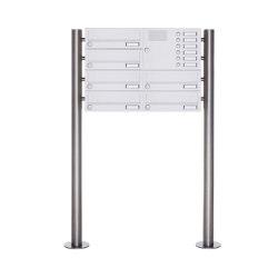 Basic | 6er Standbriefkasten Design BASIC 385-9016 ST-R mit Klingelkasten - RAL 9016 verkehrsweiß Rechts | Mailboxes | Briefkasten Manufaktur