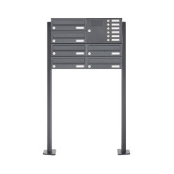 Basic | 6er Standbriefkasten Design BASIC 385P ST-T mit Klingelkasten - RAL 7016 anthrazitgrau Rechts | Mailboxes | Briefkasten Manufaktur