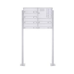 Basic | 6er Standbriefkasten Design BASIC 385P-9016 ST-T mit Klingelkasten - RAL 9016 verkehrsweiß Rechts | Mailboxes | Briefkasten Manufaktur