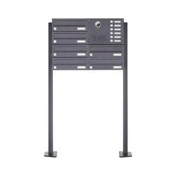 Basic | 6er Standbriefkasten Design BASIC Plus 385 KXP SP mit Klingel & Sprech - Kameravorbereitung Rechts | Mailboxes | Briefkasten Manufaktur