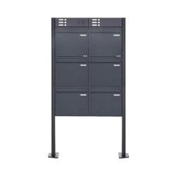 Basic | 6er Zaunbriefkasten freistehend BASIC 380Z-P mit Klingelkasten- RAL 7016 anthrazitgrau | Mailboxes | Briefkasten Manufaktur