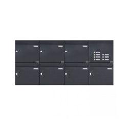 Basic | 7er 2x4 Aufputz Briefkasten Design BASIC 382A AP mit Klingelkasten - RAL 7016 anthrazitgrau Rechts 100mm Tiefe | Mailboxes | Briefkasten Manufaktur