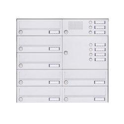 Basic | 7er Aufputz Briefkastenanlage Design BASIC 385A-9016 AP mit Klingelkasten - RAL 9016 verkehrsweiß Rechts | Mailboxes | Briefkasten Manufaktur