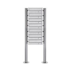 Basic | 7er Briefkastenanlage freistehend Design BASIC 385 ST-R - Edelstahl V2A, geschliffen | Mailboxes | Briefkasten Manufaktur