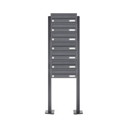 Basic | 7er Briefkastenanlage freistehend Design BASIC 385P ST-T - RAL 7016 anthrazitgrau | Mailboxes | Briefkasten Manufaktur