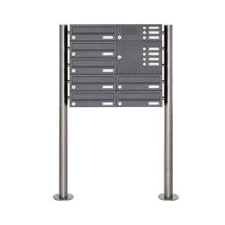 Basic | 7er Standbriefkasten Design BASIC 385-7016 ST-R mit Klingelkasten - RAL 7016 anthrazitgrau Rechts | Mailboxes | Briefkasten Manufaktur