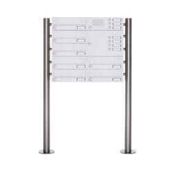 Basic | 7er Standbriefkasten Design BASIC 385-9016 ST-R mit Klingelkasten - RAL 9016 verkehrsweiß Rechts | Mailboxes | Briefkasten Manufaktur
