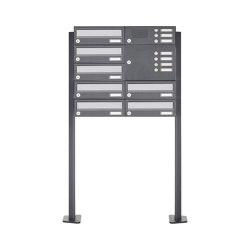 Basic | 7er Standbriefkasten Design BASIC 385P ST-T mit Klingelkasten - Edelstahl-RAL 7016 anthrazit Rechts | Mailboxes | Briefkasten Manufaktur