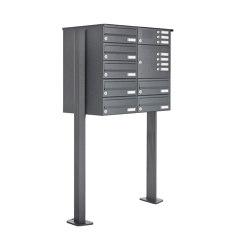 Basic | 7er Standbriefkasten Design BASIC 385P ST-T mit Klingelkasten - RAL 7016 anthrazitgrau Rechts | Buzones | Briefkasten Manufaktur