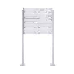 Basic | 7er Standbriefkasten Design BASIC 385P-9016 ST-T mit Klingelkasten - RAL 9016 verkehrsweiß Rechts | Mailboxes | Briefkasten Manufaktur