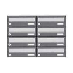 Basic | 8er 4x2 Aufputz Briefkastenanlage Design BASIC 385A AP - Edelstahl-RAL 7016 anthrazit | Mailboxes | Briefkasten Manufaktur