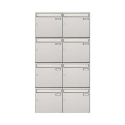 Basic   8er 4x2 Edelstahl Aufputz Briefkastenanlage Design BASIC 382A-AP Edelstahl V2A, geschliffen 100mm Tiefe   Mailboxes   Briefkasten Manufaktur