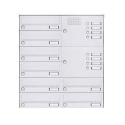 Basic | 8er Aufputz Briefkastenanlage Design BASIC 385A-9016 AP mit Klingelkasten - RAL 9016 verkehrsweiß Rechts | Mailboxes | Briefkasten Manufaktur
