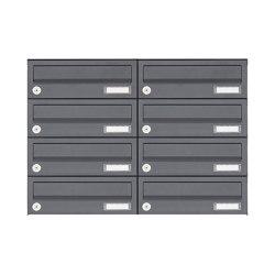 Basic   8er Edelstahl Aufputz Briefkastenanlage Design BASIC Plus 385XA AP - RAL nach Wahl   Mailboxes   Briefkasten Manufaktur