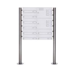 Basic | 8er Standbriefkasten Design BASIC 385-9016 ST-R mit Klingelkasten - RAL 9016 verkehrsweiß Rechts | Buchette lettere | Briefkasten Manufaktur