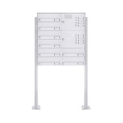 Basic | 8er Standbriefkasten Design BASIC 385P-9016 ST-T mit Klingelkasten - RAL 9016 verkehrsweiß Rechts | Mailboxes | Briefkasten Manufaktur