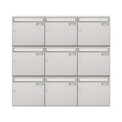 Basic | 9er 3x3 Edelstahl Aufputz Briefkastenanlage Design BASIC 382A-AP Edelstahl V2A, geschliffen 100mm Tiefe | Mailboxes | Briefkasten Manufaktur