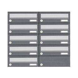 Basic | 9er 5x2 Aufputz Briefkastenanlage Design BASIC 385A AP - Edelstahl-RAL 7016 anthrazit | Mailboxes | Briefkasten Manufaktur