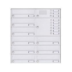 Basic | 9er Aufputz Briefkastenanlage Design BASIC 385A-9016 AP mit Klingelkasten - RAL 9016 verkehrsweiß Rechts | Mailboxes | Briefkasten Manufaktur