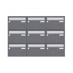 Basic   9er Aufputz Briefkastenanlage Design BASIC Plus 385 XA 220 - Edelstahl - RAL nach Wahl   Mailboxes   Briefkasten Manufaktur