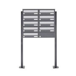 Basic | 9er Briefkastenanlage freistehend Design BASIC 385P ST-T - Edelstahl-RAL 7016 anthrazitgrau | Mailboxes | Briefkasten Manufaktur