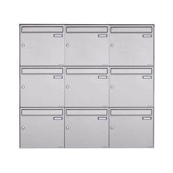 Basic   9er Edelstahl Aufputz Briefkasten Design BASIC Plus 382XA AP - Edelstahl V2A geschliffen 100mm Tiefe   Mailboxes   Briefkasten Manufaktur