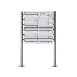 Basic | 9er Standbriefkasten Design BASIC 385 ST-R mit Klingelkasten - Edelstahl V2A geschliffen Rechts | Mailboxes | Briefkasten Manufaktur