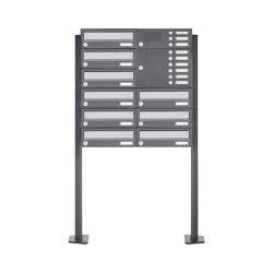 Basic | 9er Standbriefkasten Design BASIC 385P ST-T mit Klingelkasten - Edelstahl-RAL 7016 anthrazit Rechts | Mailboxes | Briefkasten Manufaktur
