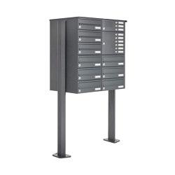 Basic | 9er Standbriefkasten Design BASIC 385P ST-T mit Klingelkasten - RAL 7016 anthrazitgrau Rechts | Mailboxes | Briefkasten Manufaktur