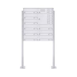 Basic | 9er Standbriefkasten Design BASIC 385P-9016 ST-T mit Klingelkasten - RAL 9016 verkehrsweiß Rechts | Mailboxes | Briefkasten Manufaktur