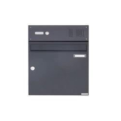 Basic | Aufputz Briefkasten Design BASIC 382A AP mit Klingelkasten - RAL 7016 anthrazitgrau Oben 100mm Tiefe | Mailboxes | Briefkasten Manufaktur
