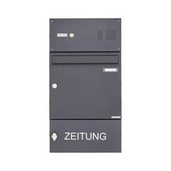Basic | Aufputz Briefkasten Design BASIC 382A AP mit Klingelkasten & Zeitungsablagefach - RAL 7016 anthrazit 100mm Tiefe | Mailboxes | Briefkasten Manufaktur