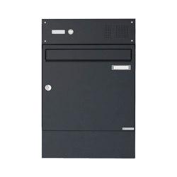 Basic   Aufputz Briefkasten Design BASIC 382A AP mit Klingelkasten & Zeitungsfach - RAL 7016 anthrazitgrau   Mailboxes   Briefkasten Manufaktur