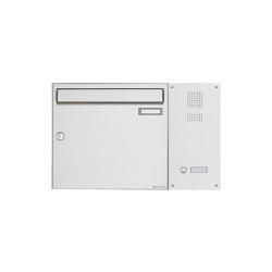 Basic | Edelstahl Aufputz Briefkasten BASIC Plus 592 AP mit Klingelkasten seitlich Rechts 100mm Tiefe | Mailboxes | Briefkasten Manufaktur