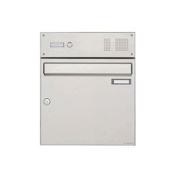 Basic | Edelstahl Aufputz Briefkasten Design BASIC 382A AP mit Klingelkasten Oben 100mm Tiefe | Mailboxes | Briefkasten Manufaktur