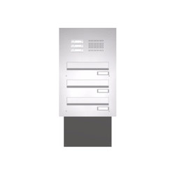 Basic | Edelstahl Mauerdurchwurf Briefkastenanlage BASIC 623 - Klingel- Sprechstelle - 3 Parteien | Mailboxes | Briefkasten Manufaktur