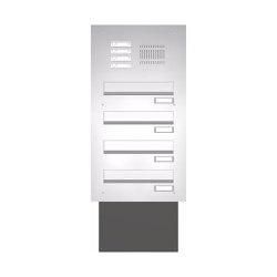 Basic | Edelstahl Mauerdurchwurf Briefkastenanlage BASIC 623 - Klingel- Sprechstelle - 4 Parteien | Mailboxes | Briefkasten Manufaktur