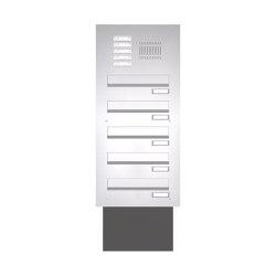 Basic | Edelstahl Mauerdurchwurf Briefkastenanlage BASIC 623 - Klingel- Sprechstelle - 5 Parteien | Mailboxes | Briefkasten Manufaktur